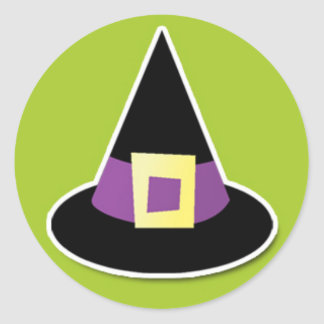 Witches Hat on Green Classic Round Sticker