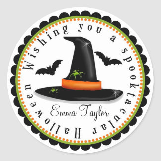 Witches Hat Spiders Bats Halloween Treat Stickers