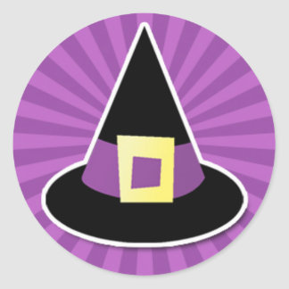 Witches Hat with Purple Band Classic Round Sticker