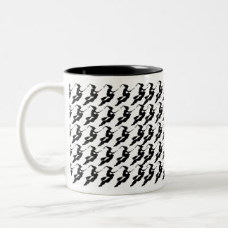 Witches in Flight on Broom Silhouette Mugs