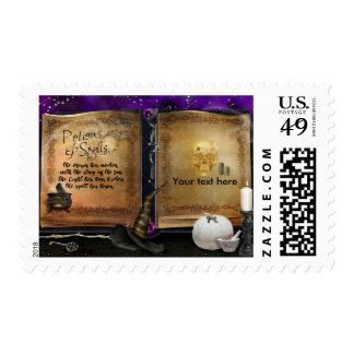 Witches Magic Spell Book Halloween Invitation Postage