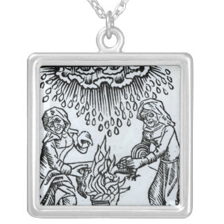 Witches Making a Spell, 1489 Silver Plated Necklace