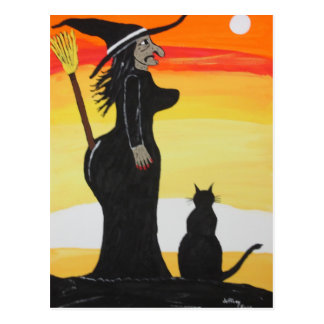 Witches New Broom Holder Postcard