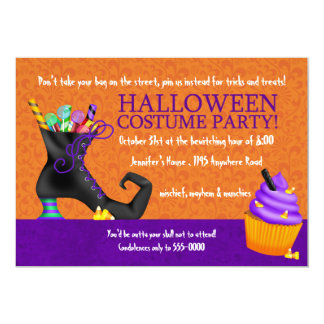 Witches Shoe and Cupcake Halloween Costume Party Card