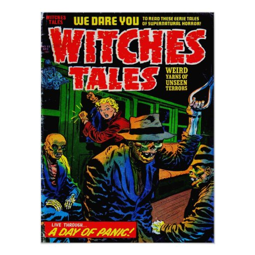Cool Book Cover Posters : Witches tales cool vintage comic book cover art poster