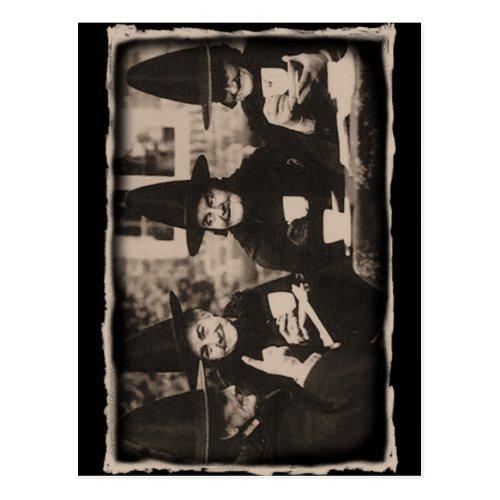 Witches Tea party _ old blackwhite Postcard