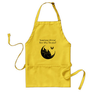 Witches Thumbing Noses Flying on the Moon Adult Apron