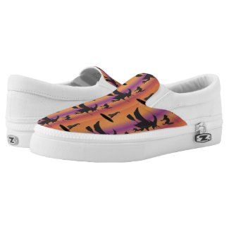 Witches Witch Hat Cat Halloween Printed Shoes