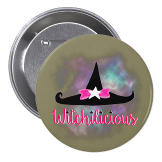 Witchilicious & WK Witchy Hat Taupe 3 in. Button
