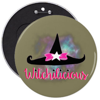 Witchilicious & WK Witchy Hat Taupe 6 in. Button