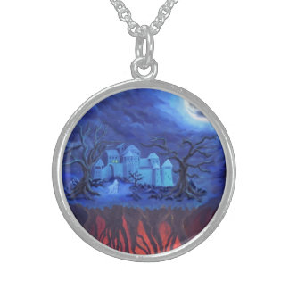 Witching hour, between skies and hell round pendant necklace