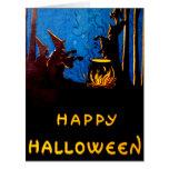 Witching Hour Black Cat Bat Cauldron Card