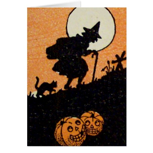 Witching Hour Black Cat Jack O Lantern Pumpkin Greeting Card