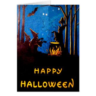 Witching Hour Witch Cauldron Black Cat Bat Card