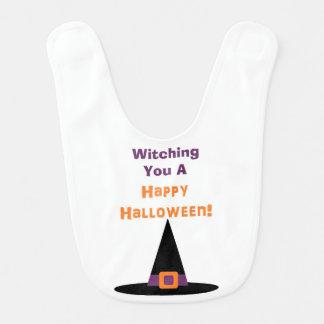 "¡""Witching usted un feliz Halloween! ""Babero Babero Para Bebé"