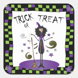 Witching usted un feliz Halloween Calcomania Cuadradas Personalizadas