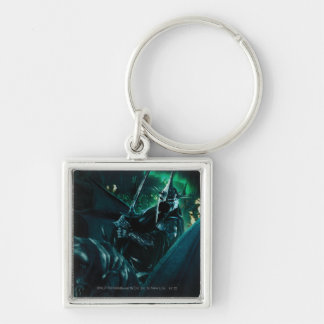 Witchking with sword Silver-Colored square keychain