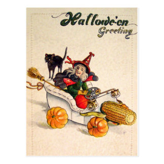 Witchmobile (Vintage Halloween Card) Postcard