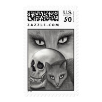 Witch's Black Cat Skull Gothic Cat Art Postage