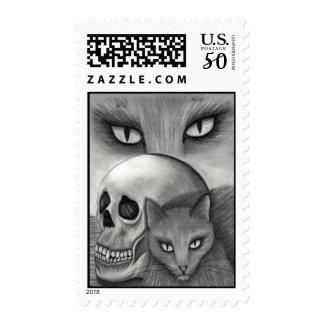 Witch's Black Cat Skull Gothic Cat Art Postage