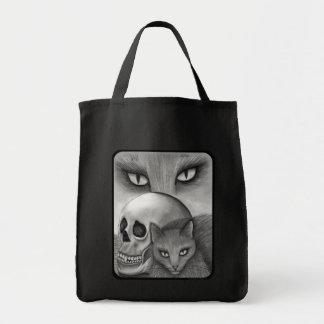 Witch's Black Cat Skull Gothic Fantasy Cat Art Bag