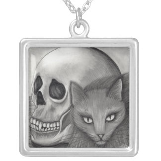 Witch's Black Cat Skull Gothic Fantasy Cat Art Nec Silver Plated Necklace