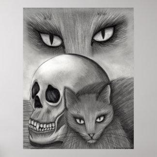 Witch's Black Cat Skull Gothic Fantasy Cat Art Pri Poster