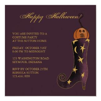 Witch's Boot & Pumpkin • Halloween Invitation
