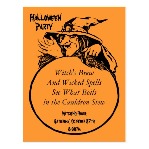 Witch's Brew and Spells Halloween Party Post Cards