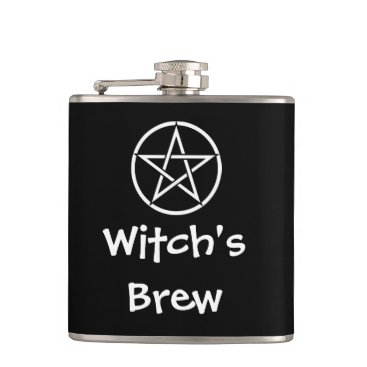 Halloween Themed Witch's Brew Wiccan Pagan Pentacle Hip Flask