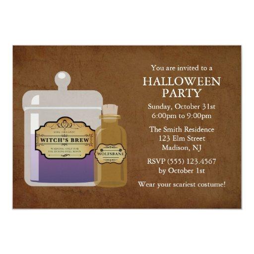 Witch's Brew & Wolfsbane Halloween Party Card