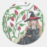 Witch's Broom Classic Round Sticker