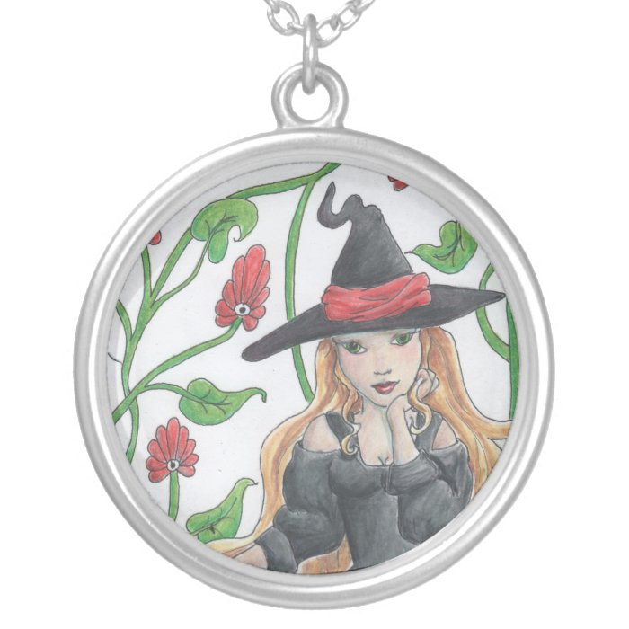 Witch's Broom Silver Plated Necklace