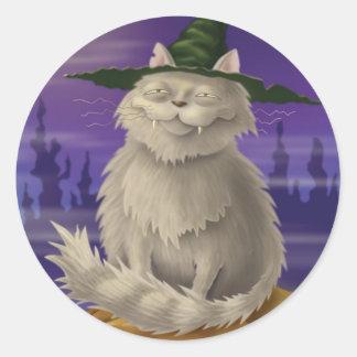 Witch's Cat Classic Round Sticker