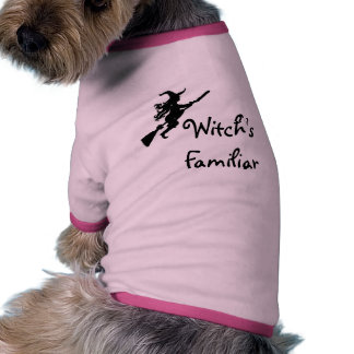 Witch's Familiar Witch on a Broom Dog shirt
