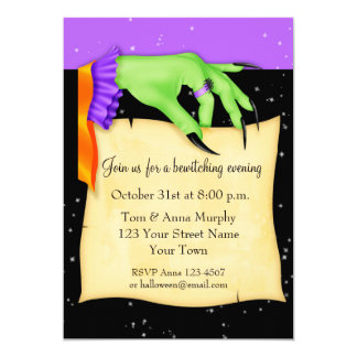 Witch's Hand with Paper Halloween Invitation