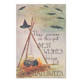 Witch's Hat Cauldron Fire Bat Photo Print