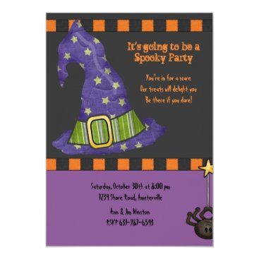 PixiePrints Witch's Hat Halloween Party Invitation