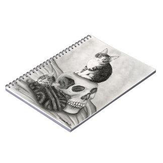 Witch's Kittens Cat Skull Gothic Art Notebook