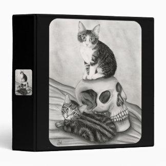 Witch's Kittens Cat Skull Gothic Goth Fantasy Art  3 Ring Binder