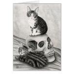 Witch's Kittens Cat Skull Gothic Goth Fantasy Art  Card