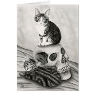 Witch's Kittens Cat Skull Gothic Goth Fantasy Art  Greeting Card