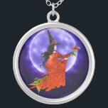 """Witch&#39;s Moon Necklace<br><div class=""""desc"""">A beautiful witch dressed in red flies by the moon on her trusty broom stick. Where she&#39;s headed,  only she knows. She is Knowledge and Freedom personified!</div>"""