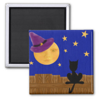 Witch's Moon Square Magnet