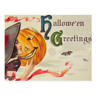 Witch's & Pumpkin (Vintage Halloween Card) Postcard