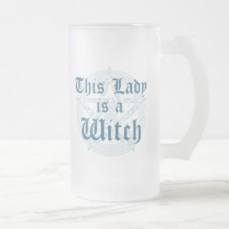 Witch's Slogan and Magick Pentacle Frosted Glass Beer Mug