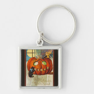 Witch's Wand Halloween Silver-Colored Square Keychain