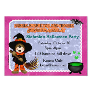 Witchy Bear Halloween Party Invite