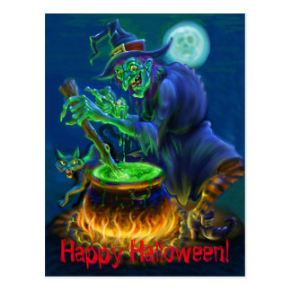 Witchy Black Cat Stew Postcard