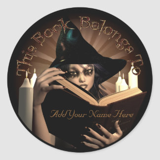 Witchy Bookplate Round Stickers